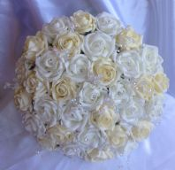 ARTIFICIAL FLOWERS IVORY/LEMON FOAM ROSE BRIDE CRYSTAL WEDDING BOUQUET POSIE